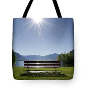 Bench On The Lakefront Tote Bag