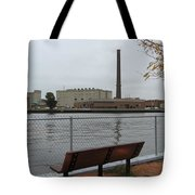 Bench With Industrial View Tote Bag