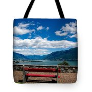 Bench With Panorama View Tote Bag