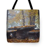 Benches And Table In Autumn Tote Bag
