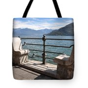 Benches On The Lake Front Tote Bag