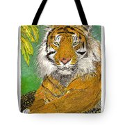 Bengal Tiger With Green Eyes Tote Bag by Jack Pumphrey