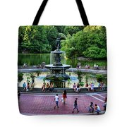 Bethesda Fountain Overlooking Central Park Pond Tote Bag