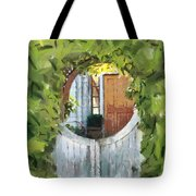 Beyond The Gate - A Scene From Mackinac Island Michigan Tote Bag