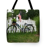 Bicycle And Picket Fence Tote Bag