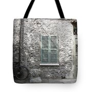 Bicycle Leaning Against A Stone House Tote Bag
