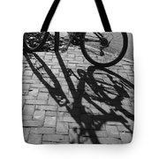 Bicycle Shadows In Black And White Tote Bag