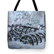 Bicycles In The Snow Tote Bag