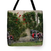 Bicycles Parked By The Wall Tote Bag