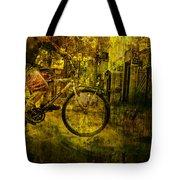 Bicyclist On The Move No. Ol4 Tote Bag
