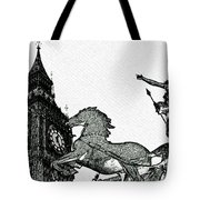 Big Ben And Boudica Charcoal Sketch Effect Image Tote Bag