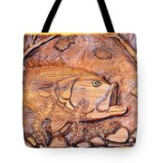 Big Mouth Bass Carving Tote Bag