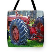 Big Red Rubber Tire Tractor Tote Bag