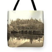 Big Sky And Dock On The River In Sepia Tote Bag