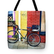 Bike Leaning On The Colorful City Walls Of Asheville  Tote Bag