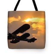 Biplane At Sunset Tote Bag