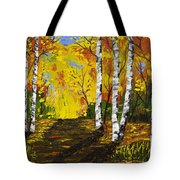 Birch Trees And Road Fall Painting Tote Bag