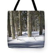 Birch Trees In Snow Tote Bag