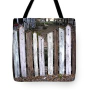 Bird House Fence With Black Cat Tote Bag