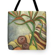 Bird Of Paradise Flowers And Fruits On A Carpet In Yellow Brown Green Tote Bag