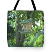 Bird On Full Feeder Tote Bag