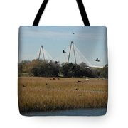 Birds And Bridge Tote Bag