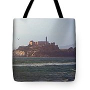 Birds In Free Flight At Alcatraz Tote Bag