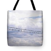 Birds On A Wire Pushed Tote Bag