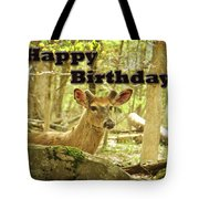 Birthday Greeting Card - Whitetail Deer Buck In Velvet Tote Bag