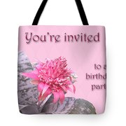 Birthday Party Invitation - Pink Flowering Bromeliad Tote Bag
