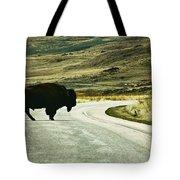 Bison Crossing Highway Tote Bag