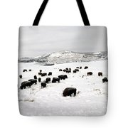 Bison Paw Away Snow With Head Tote Bag