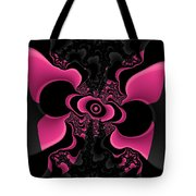 Black And Pink Fractal Butterfly Tote Bag