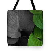 Black And White And Green Leaves Tote Bag