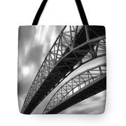 Black And White Blue Water Bridge Tote Bag