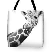 Black And White Portrait Of A Giraffe Tote Bag