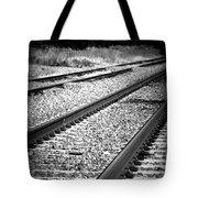 Black And White Railroad Tracks Tote Bag