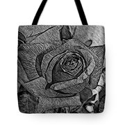 Black And White Rose Sketch Tote Bag