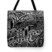 Black And White Seaside Tote Bag