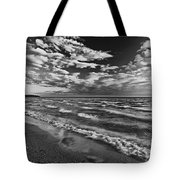 Black And White Shoreline Of Lake Tote Bag