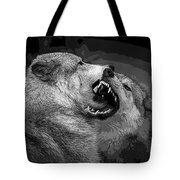 Black And White Wolf Fight Tote Bag