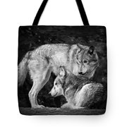 Black And White Wolves Tote Bag