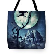 Black Bird Landing On A Branch In The Moonlight Tote Bag
