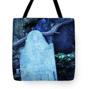 Black Bird Perched On Old Tombstone Tote Bag