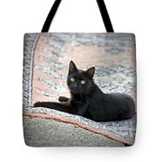 Black Cat On A Persian Rug Tote Bag
