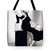 Black Dress With Fur Tote Bag by Mel Thompson