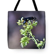 Black Flower Feeding Wasp Tote Bag