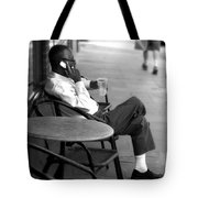 Black Man Relaxing On Sidewalks Of Asheville Tote Bag