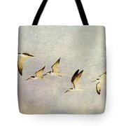Black Skimmers On The Move Tote Bag