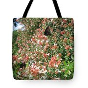 Black With Orange Dots Butterfly Tote Bag